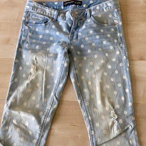Express light blue polka dot skinny jeans